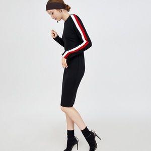 Zara • Black Contrast Stripe Fitted Sheath Dress